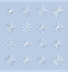 set of snowflakes vector image vector image