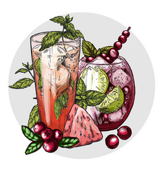 set of two mojito cocktails vector image vector image