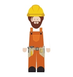 Silhouette man worker with toolkit and beard vector