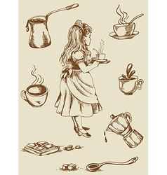 Vintage tea and coffee vector image vector image
