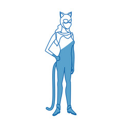 Woman in cat costume with mask ears halloween vector