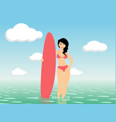 Woman surfer stay in sea water vector