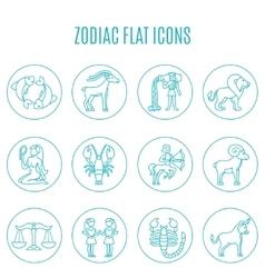 Zodiac icon line set vector