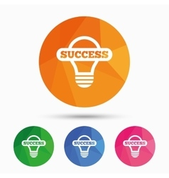 Light lamp sign icon bulb with success symbol vector