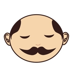 Face man moustache bald vector