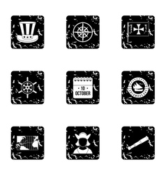 Geography icons set grunge style vector