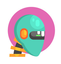 Blue android head portrait part of futuristic vector