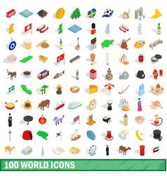 100 world icons set isometric 3d style vector image