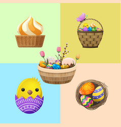 easter concept with holiday attributes vector image