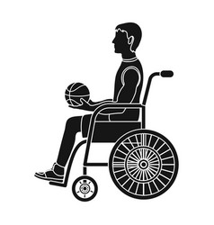 Basketball player disabledbasketball single icon vector