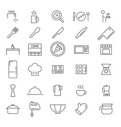 30 kitchen line icons vector image