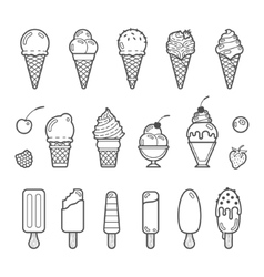 Icon set of yummy ice cream vector