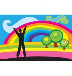 man and rainbow vector image