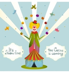 Circus juggling clown carnival show vintage poster vector
