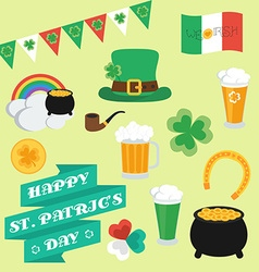 Flat elements on st patricks day set banner vector