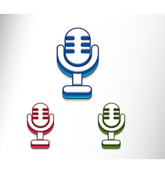 3d glossy mic icon vector