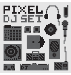 Pixel art dj set vector
