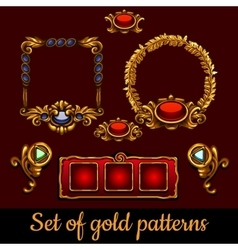 Bulk set of gold patterns and decorations vector