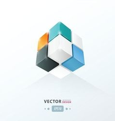 Cube worm view orange blue and black vector