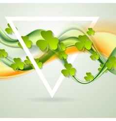 Green orange smooth waves and clovers shamrocks vector