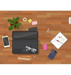 Workplace desk top view vector