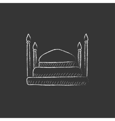 Taj mahal drawn in chalk icon vector