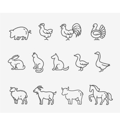 Farm animals thin line style flat design vector