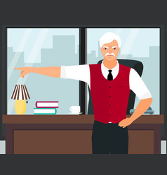 angry boss pointing the finger flat vector image