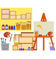 Art studio with artist tools vector