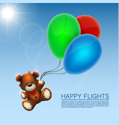Bear flies on the balloons vector