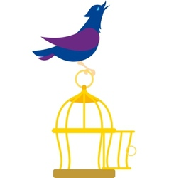 Bird on the cage vector