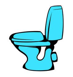 Blue toilet icon cartoon vector