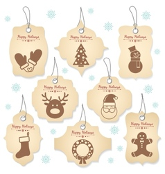 Christmas tag labels vector image