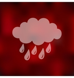 Cloud rain icon on blurred background vector