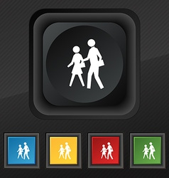 Crosswalk icon symbol set of five colorful stylish vector