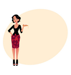 Curvy italian woman in fashionable clothes holding vector