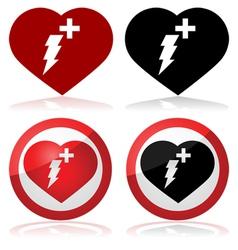 Defibrillator icons vector