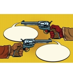 duel in the wild West hands with revolvers vector image