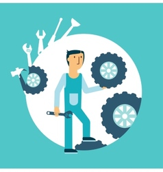 Fitter repairing wheels vector image