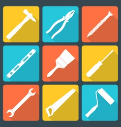 flat white house remodel tools icons vector image