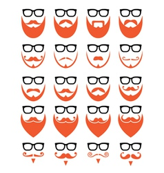 Ginger beard and glasses hipster icons set vector image