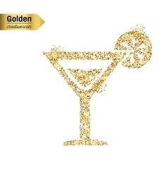 Gold glitter icon of cocktail isolated on vector