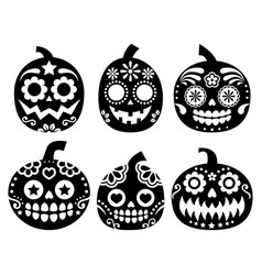 Halloween pumpkin desgin - sugar skull vector