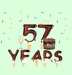 happy birthday fifty seven 57 year vector image vector image