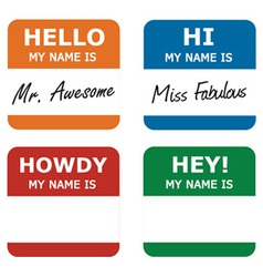 hello my name is tag vector image