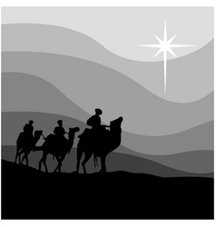 Journey of three wise men isolated vector