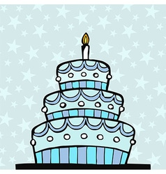 Light blue birthday cake vector image