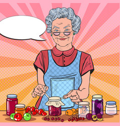 pop art senior woman homemade jam healthy eating vector image vector image