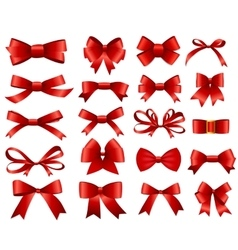 Red Ribbon and Bow Set for Your Design vector image vector image