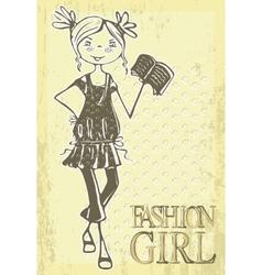 retro cartoon girl vector image vector image